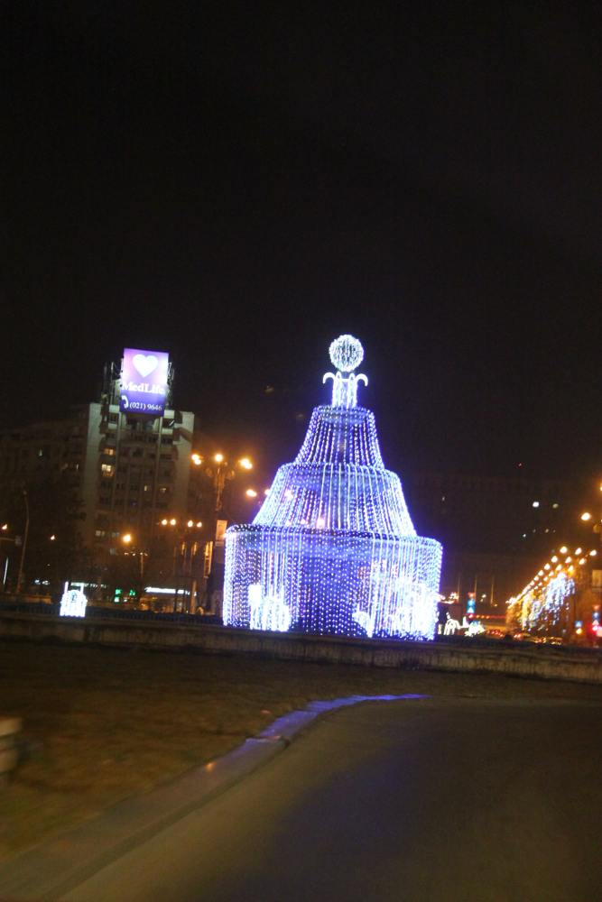 Christmas in Bucharest 2011 - blue fountain Piata Unirii