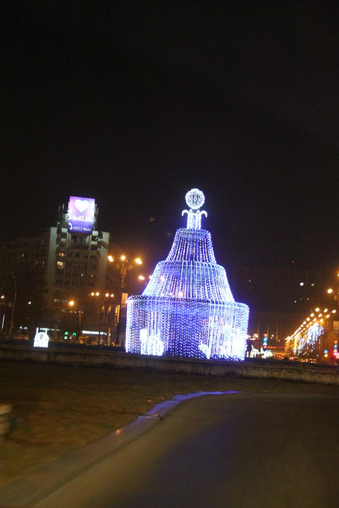 Christmas in Bucharest 2011 - blue fountain Piata Unirii