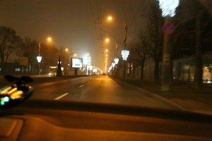 road back - Bucharest - night