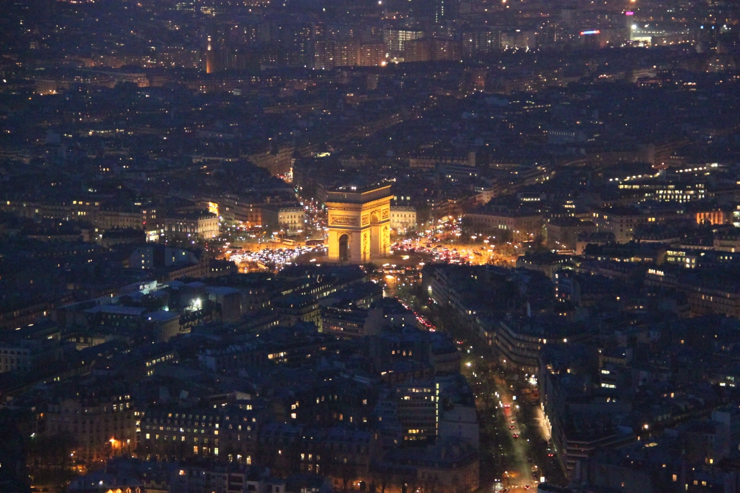 Eiffel Tower - Paris Arc de Triomphe night