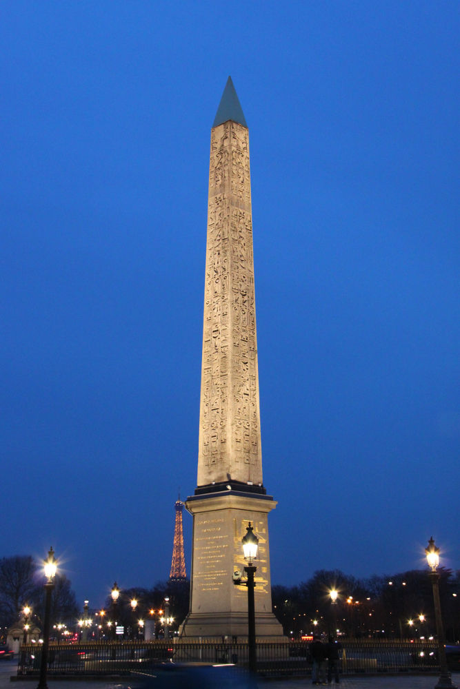 The Luxor Obelisque (Obelisk) in Paris, Eiffel Tower in background