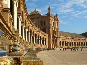 The Plaza de España, Seville, photo by Gregory Zeier on Wikipedia