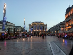 The Montpellier Opera Comedie House at dusk