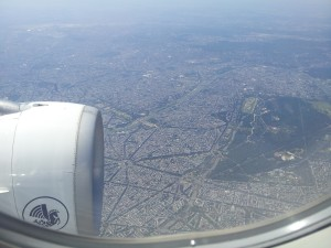 Paris, the Eiffel Tower and river Seine seen from airplane