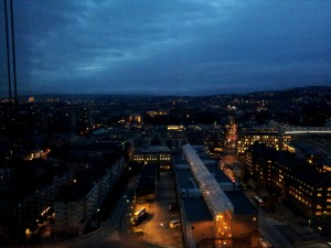 View over Oslo at night from the Hotel's Window