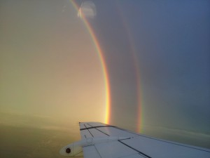 Spectacular rainbow seen from the airplane