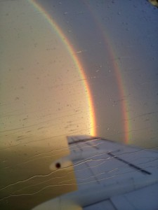 Spectacular rainbow seen from the airplane - rain
