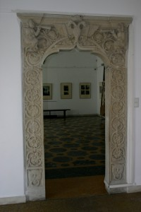 Entrance with Impressive Sculptures Inside the Mogosoaia Palace