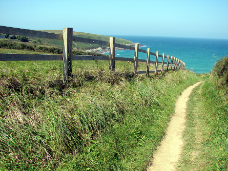The coastal path to Crantock Beach from West Pentire, Newquay, Cornwall