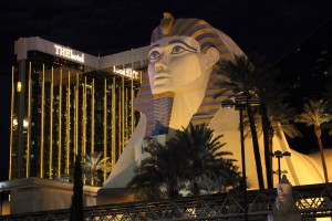 The Luxor Hotel from Las Vegas Seen at Night - the sphynx