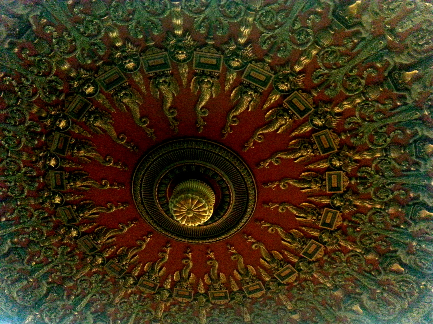The impressive ceiling of The Romanian Athenaeum