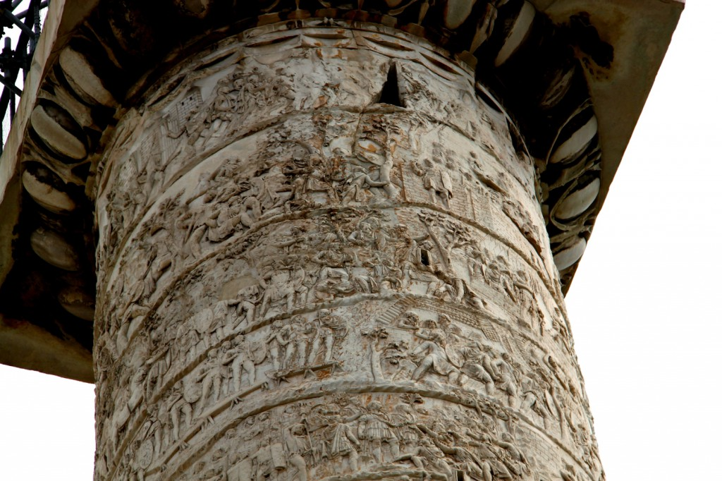 Trajan column, Rome, detail top