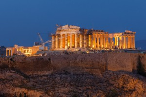 Parthenon construction in Acropolis Hill in Athens, Greece, night view