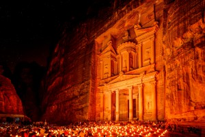 Night scene of Al Khazneh in Petra, Jordan