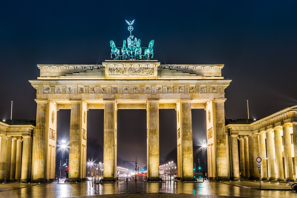 Brandenburg Gate, Berlin, Germany, at night