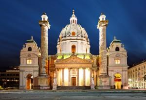 St. Charles's Church (Karlskirche) – Vienna, Austria by night
