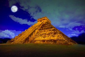 The pyramid of Kukulcan at Chichen Itza, night view