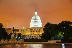 United States Capitol building in Washington, night view