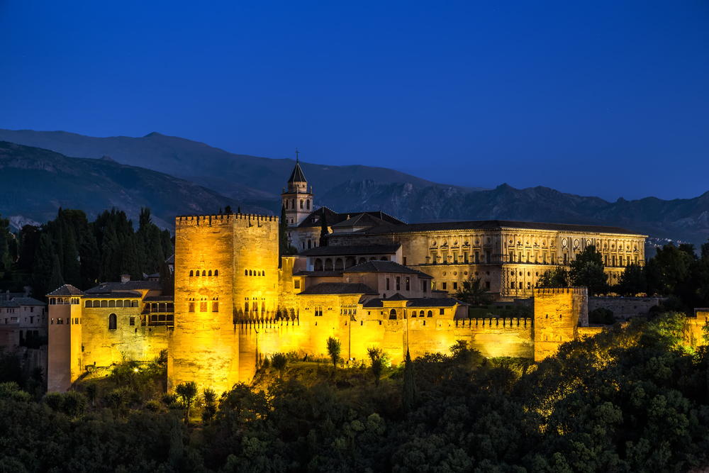 Alhambra, Granada, Spain, night view