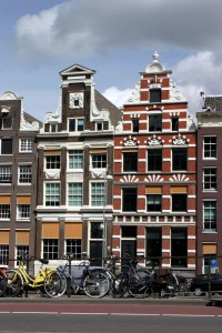 Amsterdam, typical houses and bicycles