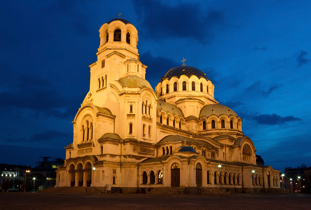 Early morning shot of the famous cathedral church Saint Alexandar Nevsky in Sofia, Bulgaria