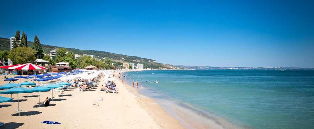 Panoramic view on Varna beach on Black sea in Bulgaria