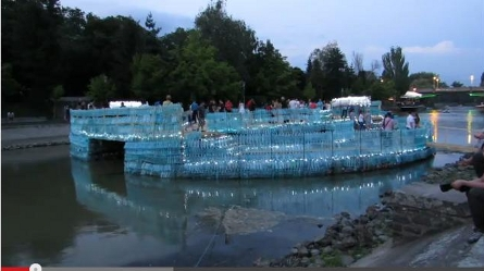 Guinness Record: Bridge made of PET bottles over the river Bega in Timisoara, Romania