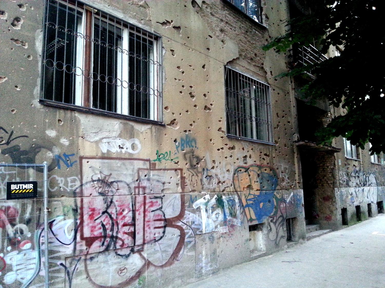 Sarajevo - shooting traces on a wall