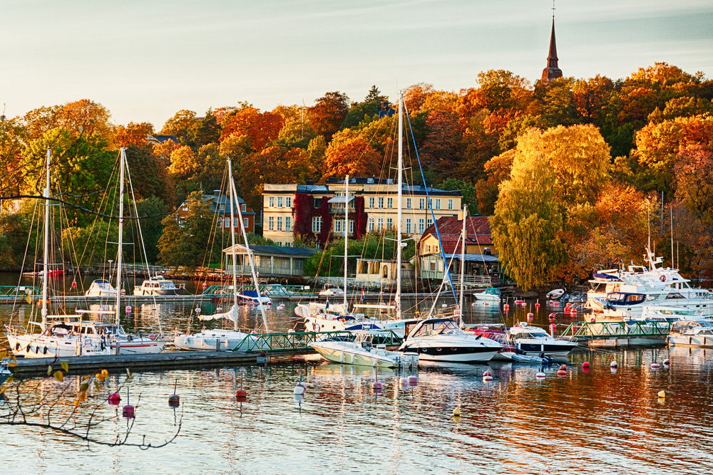 An autumn view on Waldemarsudde bay in Stockholm, Sweden