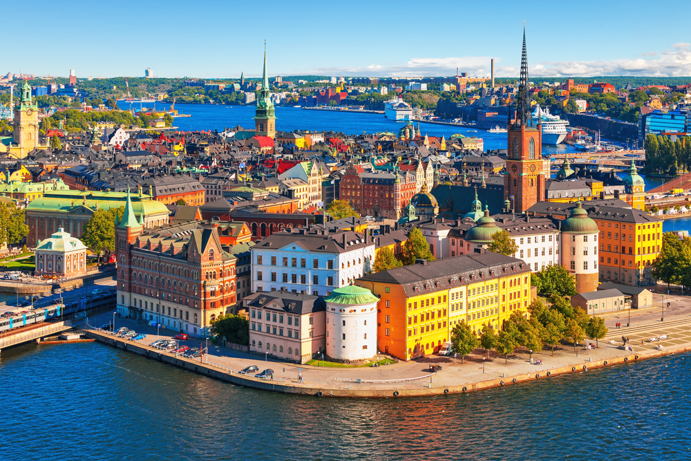 summer aerial panorama of the Old Town (Gamla Stan) in Stockholm, Sweden