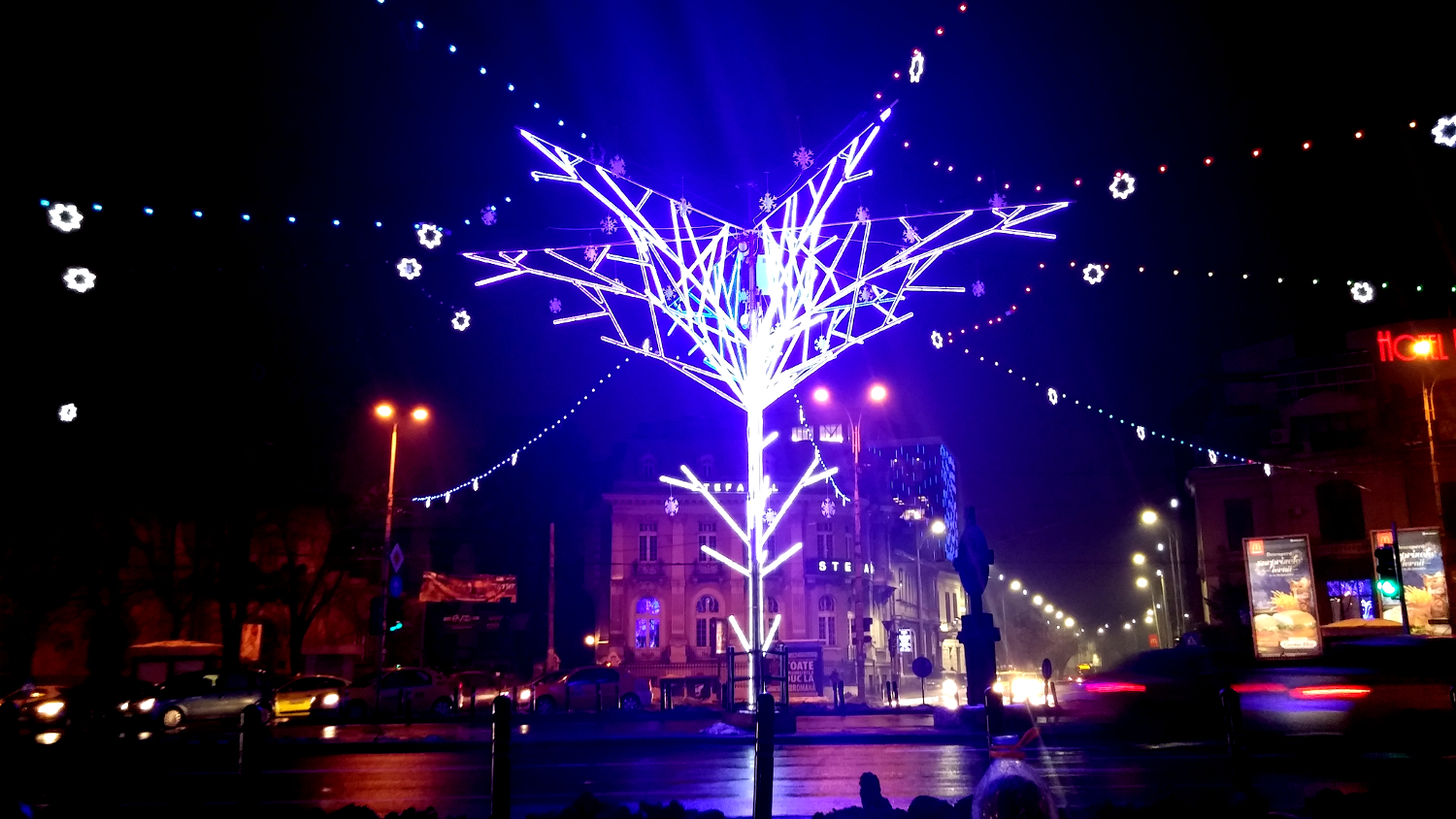 Christmas lights in Bucharest - Piata Romana