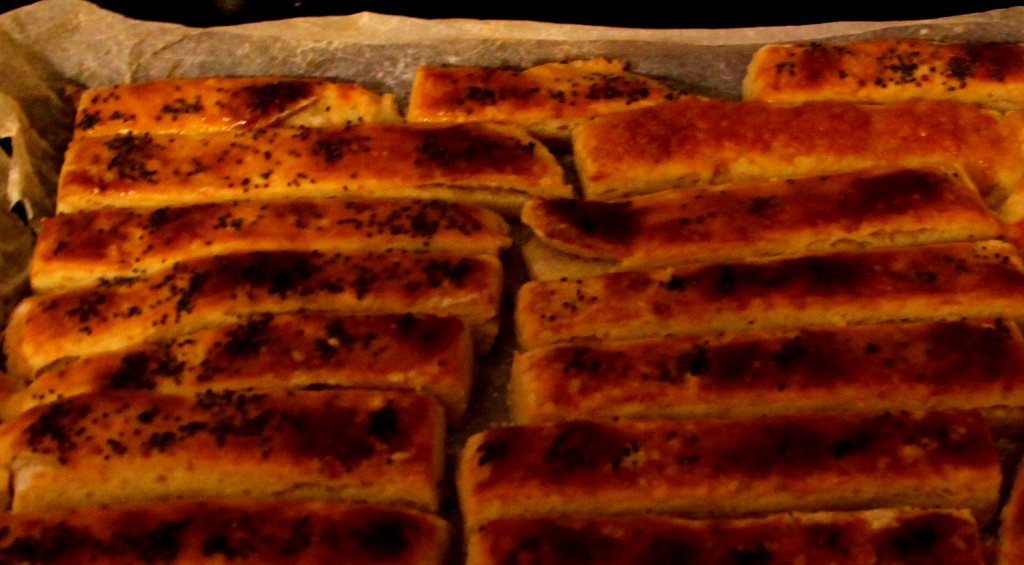 Saltines with poppy seeds