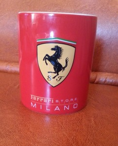 Ferrari limited edition mug from Milan, Italy- travel souvenir