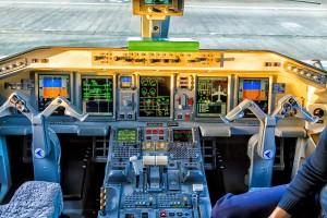 Cockpit view inside the airliner Embraer 190 in Amsterdam, Netherlands