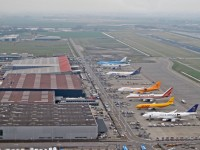 Airplanes loading on Amsterdam Airport Schiphol, The Netherlands