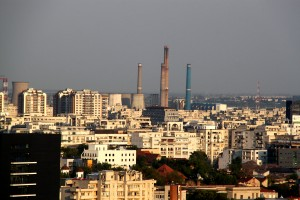 Bucharest seen from the Presidential Suite at Intercontinental Hotel - view over the industrial zone