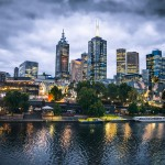 Melbourne city and the Yarra river at nighMelbourne city and the Yarra river at nigh