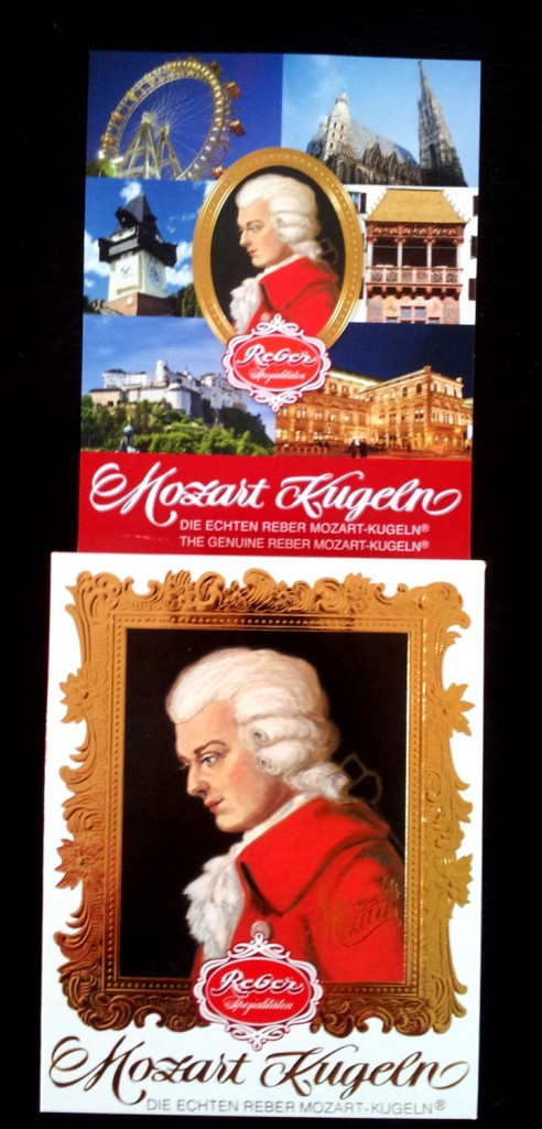 Mozartkugeln - Mozart balls - box and flyer