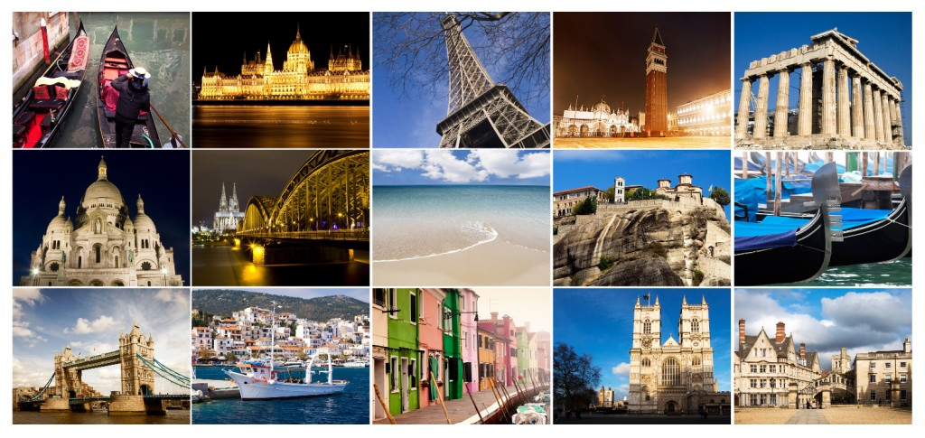 Famous places in Europe - collage