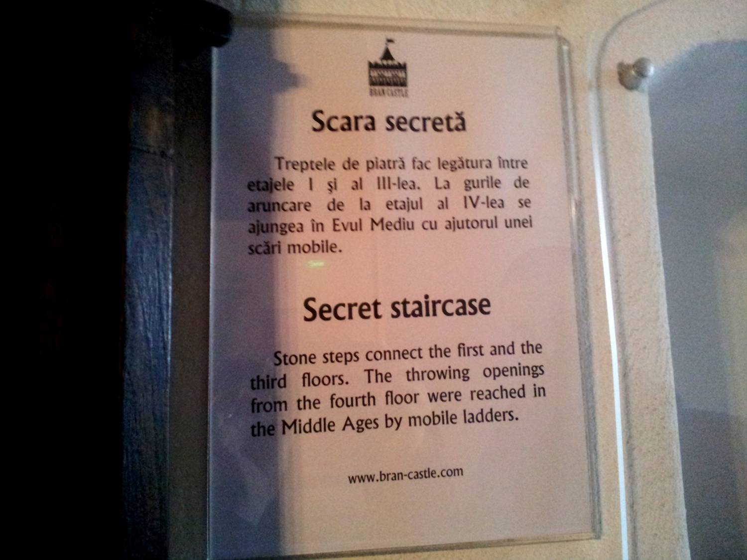 Bran Castle - secret staircase - explanation