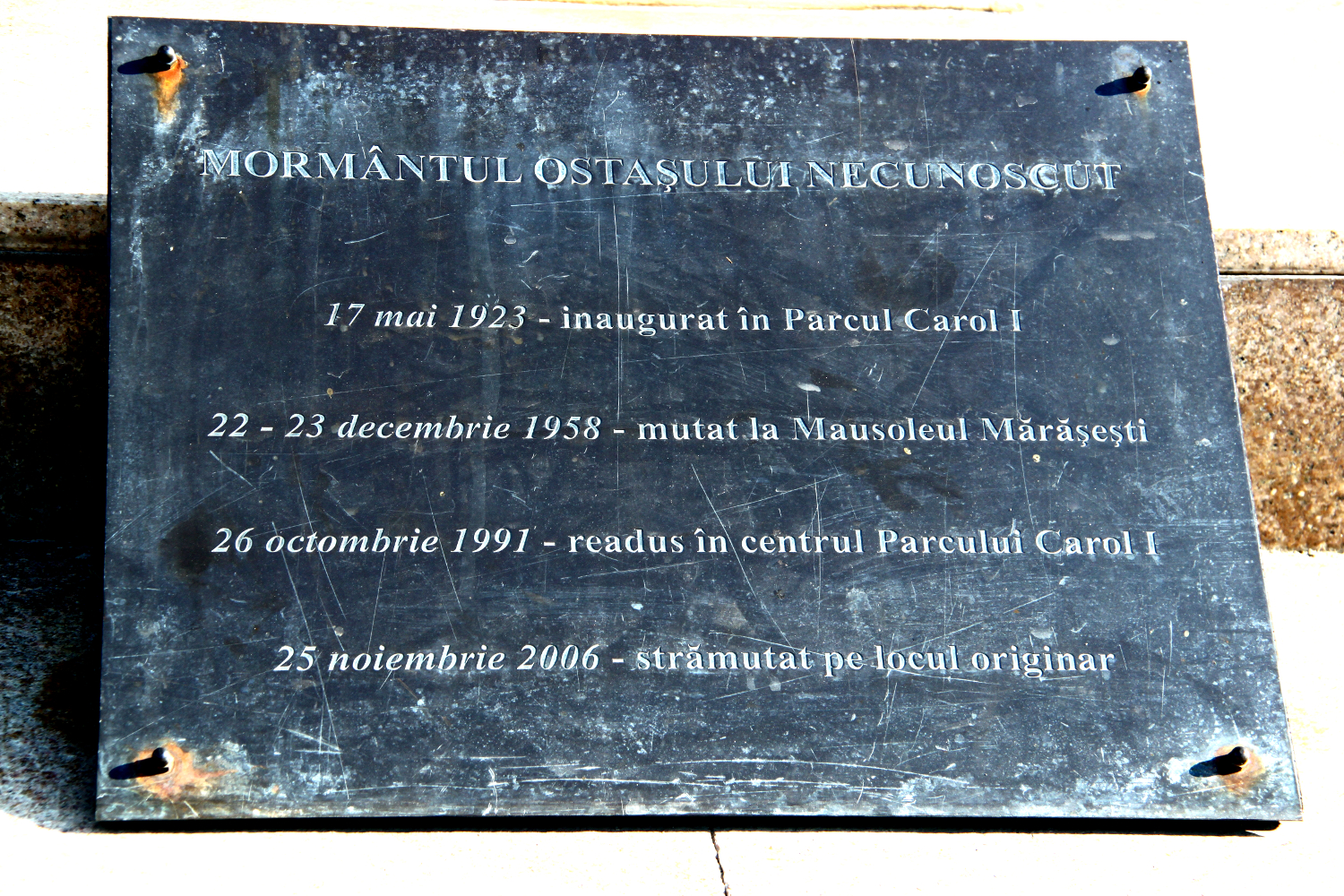 Tomb of the Unknown Soldier in Carol Park, Bucharest, Romania - explanation