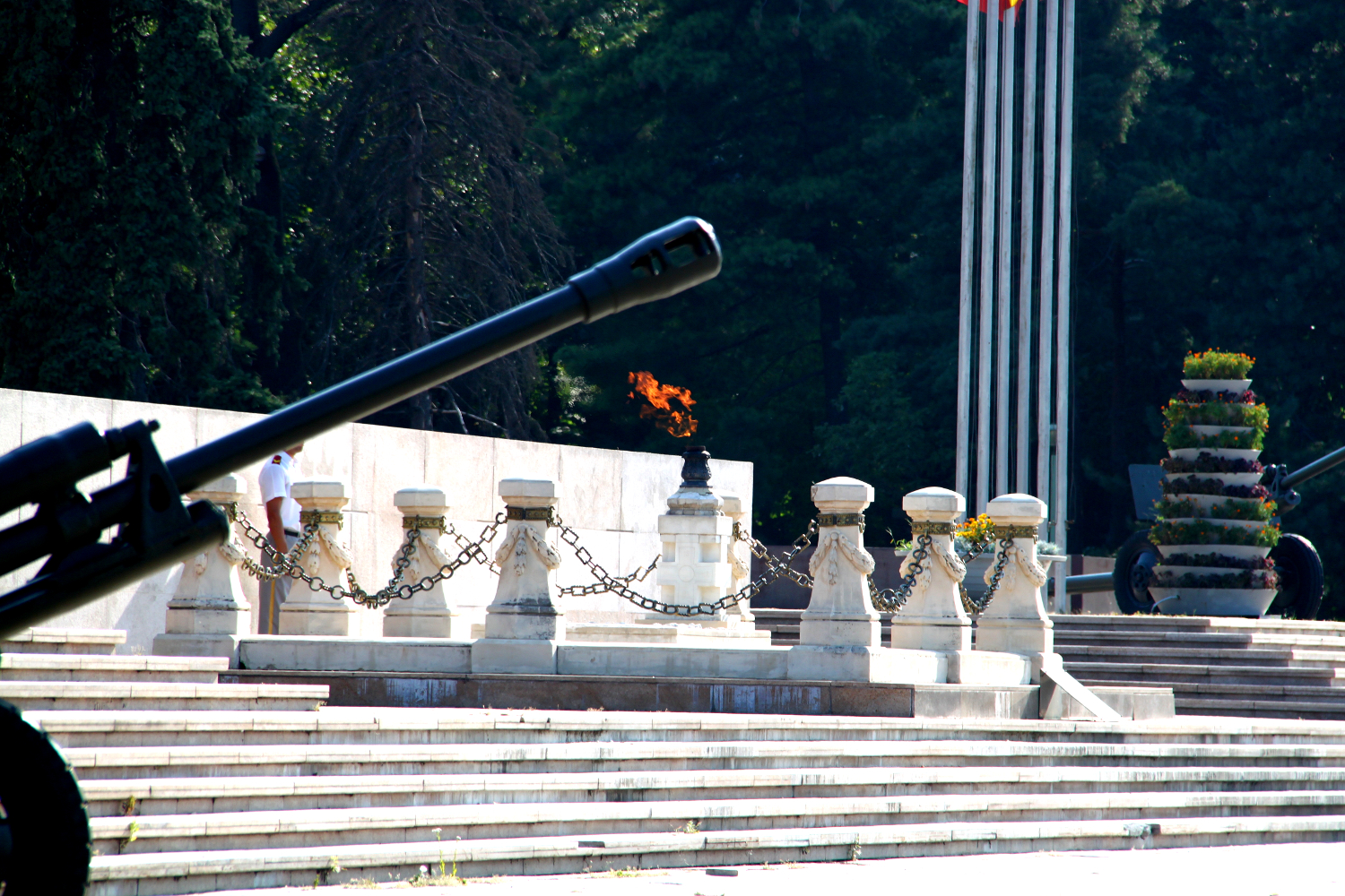 Tomb of the Unknown Soldier in Carol Park, Bucharest, Romania - side view