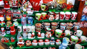 Christmas mugs at the Bucharest Christmas Market. Discover what to do on Christmas in Bucharest, Romania and tips for visiting the Bucharest Christmas Market. #christmas #bucharestchristmasmarket #bucharestdecember #christmasmarket