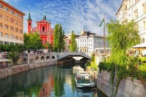 Ljubljana - Slovenia (Church and river Ljubljanica)