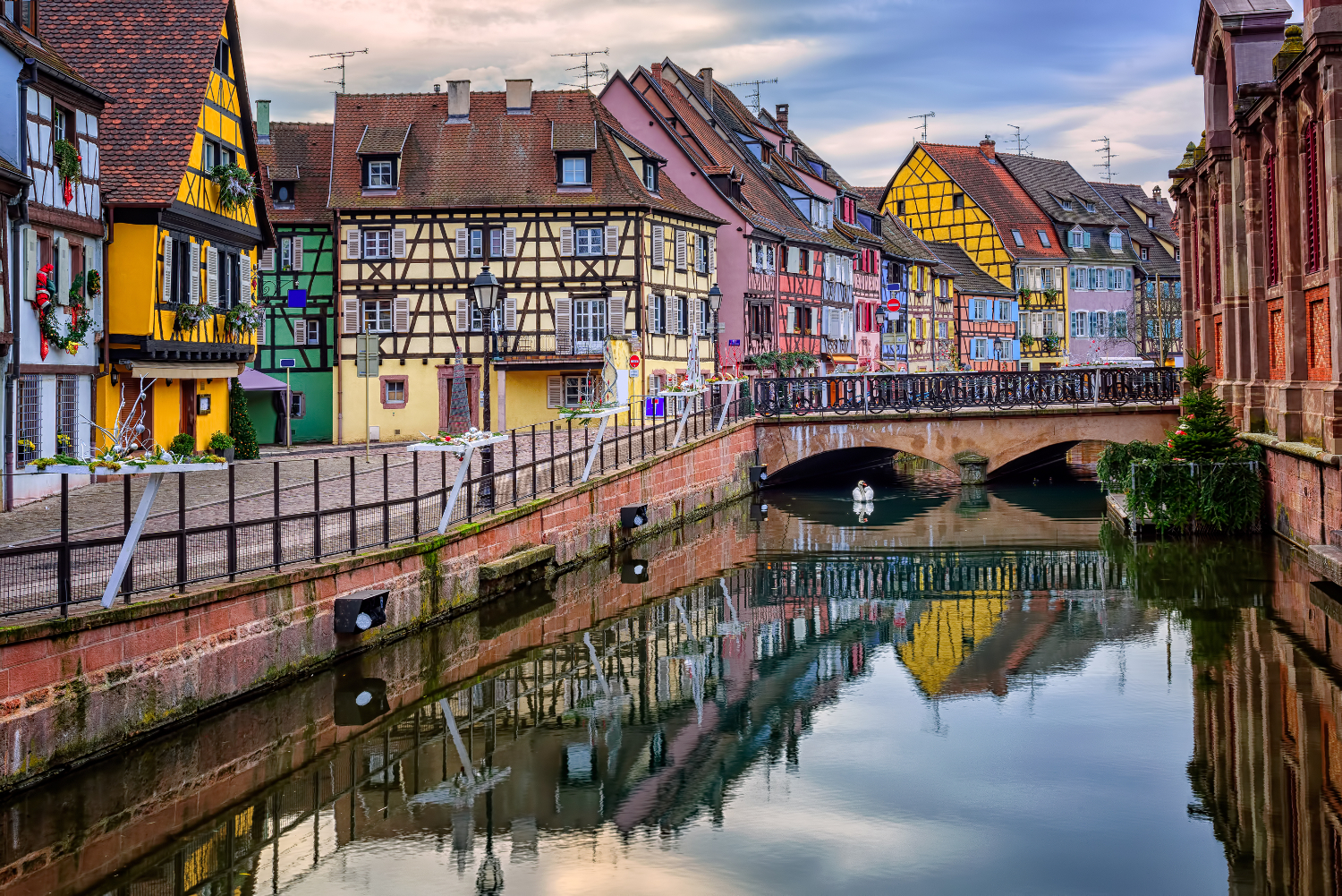 Colmar - Colorful medieval half-timbered facades reflecting in water, #France, #travel #best #photos and #places