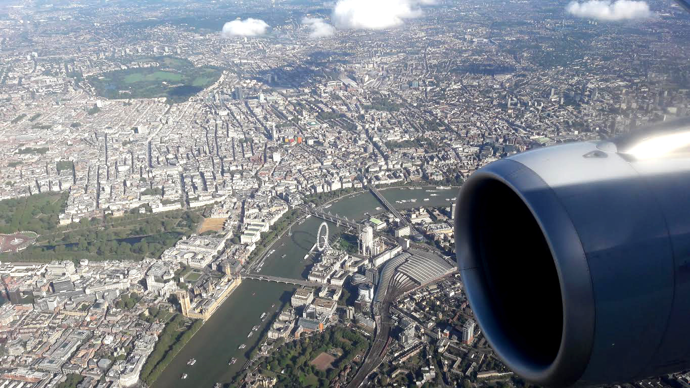 London seen from the airplane
