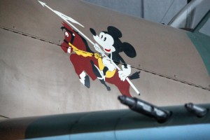 Mickey Mouse on an airplane at the Aviation Museum in Bucharest