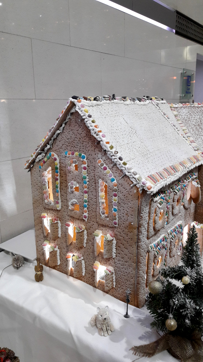 Gingerbread house at Hilton London Heathrow Airport