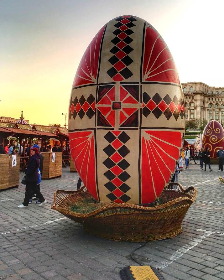 Easter Market in Bucharest, Romania - One of the giant Easter eggs decorating the Ester fair