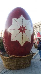 Easter Market in Bucharest, Romania - One of the giant Easter eggs decorating the Easter fair